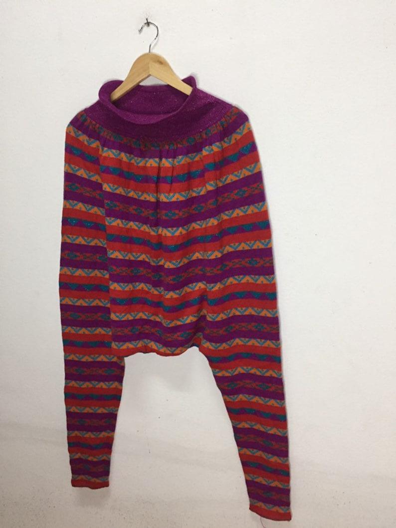 Vintage Italy Designer Pants Maria Giovanna Boho Fashion Multicolour Size 40 Super Rare!!