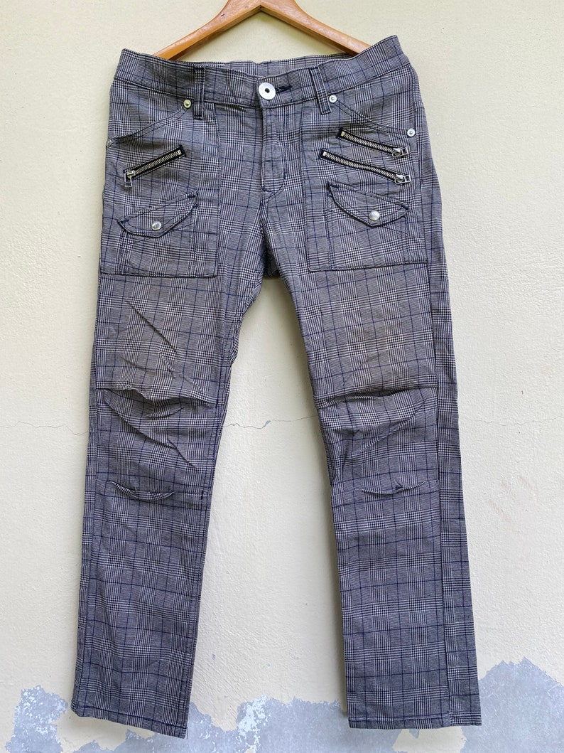Vintage Lee Cowboy Jeans Checked Punk Style Size 32