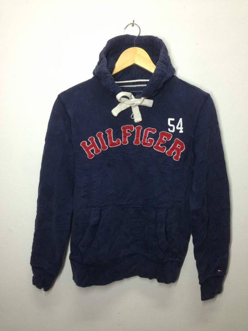 0d672afa74f40 Vintage Hoodie 90s Tommy Hilfeger Spell Out Hip Hop Style Small Size