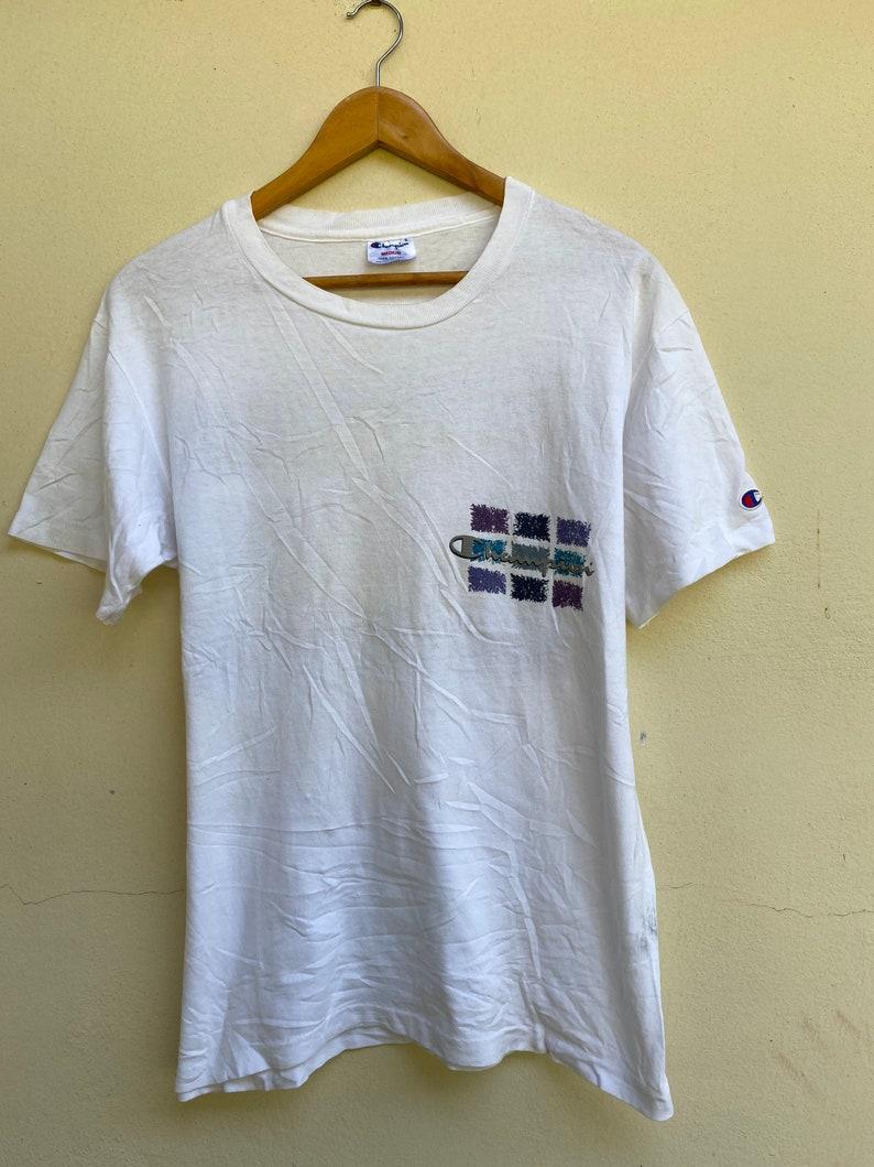 Vintage 80s Tshirt Champion Brand Big Logo Size M