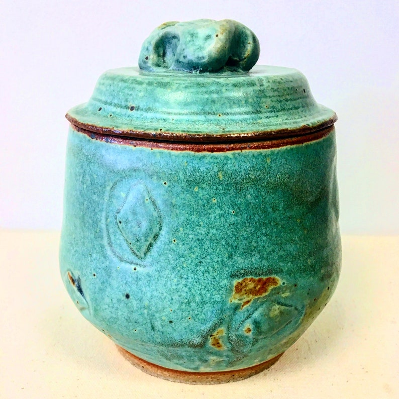 Gas Fired Turquoise Stoneware Lidded Jar