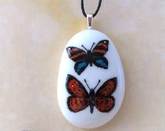 Hand painted Butterfly Pebble / Stone Pendant Necklace