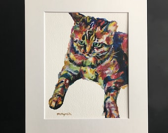 Tabby Cat Print Matted or No