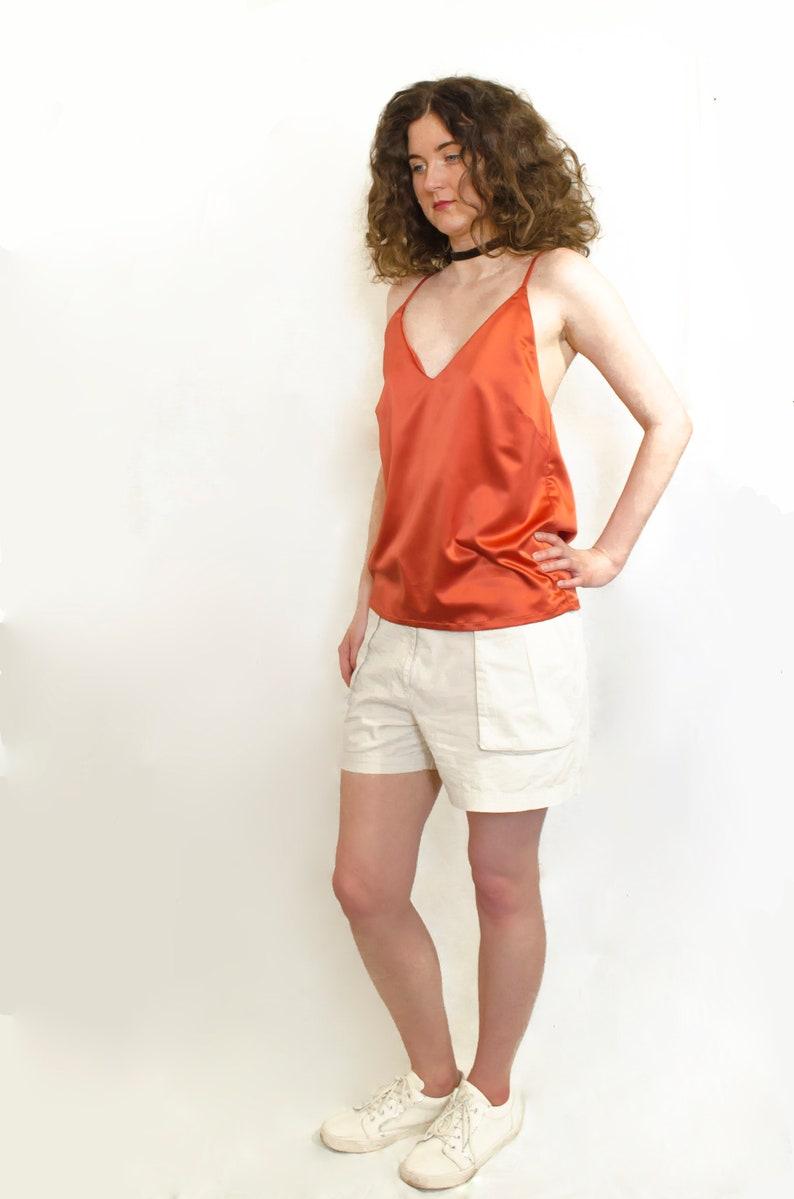 576af22997cde Satin silk red orange cami top blouse Boho chic festival