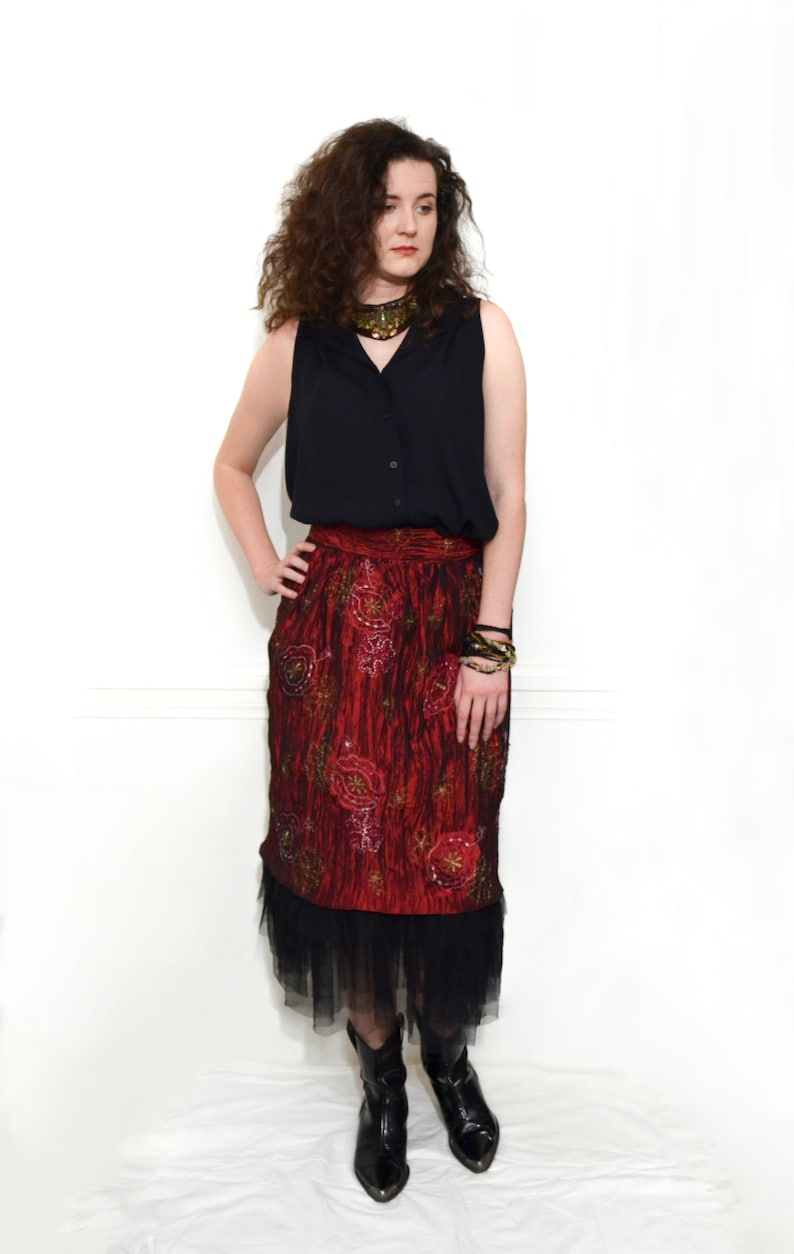 Mid-calf taffeta skirt  Elegant skirt with ruffles  Boho tulle skirt  Fluffy bohemian skirt  Trendy skirt  Luxury style  Party tutu skirt
