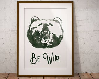 Be Wild Painted Bear Printable