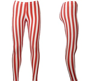 37fb1a3607162 Red And White Vertical Stripe Candy Cane Christmas Happy Holidays Printed  Leggings