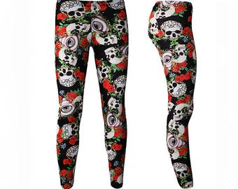 a2af30f6a120f Gothic Skull Roses Floral The Watcher Eye Alternative All Over Printed  Leggings