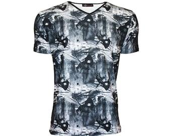 Men/'s Gothic All Over Grim Reaper Skull Bats Crow Trees Print V Neck T-Shirt Top