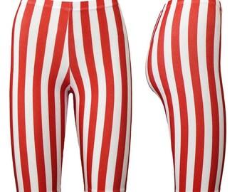 Funkige rote und weiße vertikalen Streifen gedruckt radlerhose