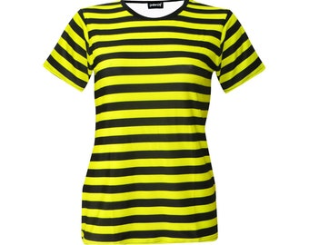 3f7a7d72aa5af6 Bumble Bee Womens Yellow And Black Stripes T-Shirt