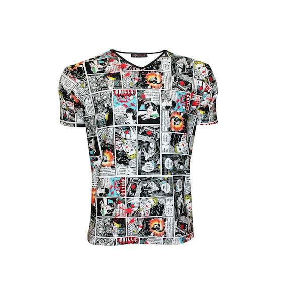 Men's Comic Retro Pop Art Strip Book Classic Alternative Printed V-Neck  T-Shirt Tee