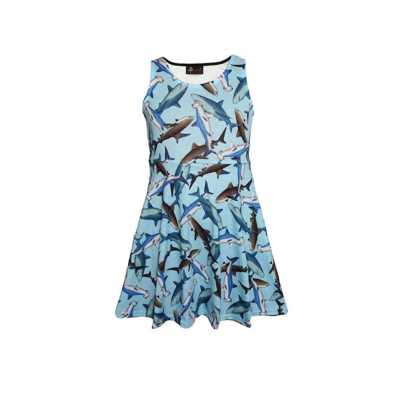 e328abd65 Girls Cute Sharks Sealife Animal Print Sleeveless Skater Dress | Etsy