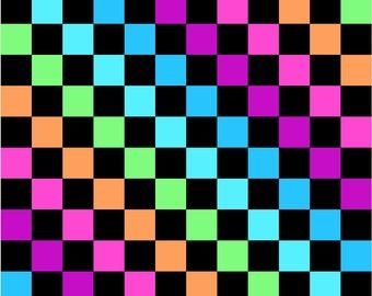 Multi Colour Rainbow Checker Board 2.5cm Check Print Stretch Spandex Fabric Stunning Sewing Dressmaking Festival Apparel