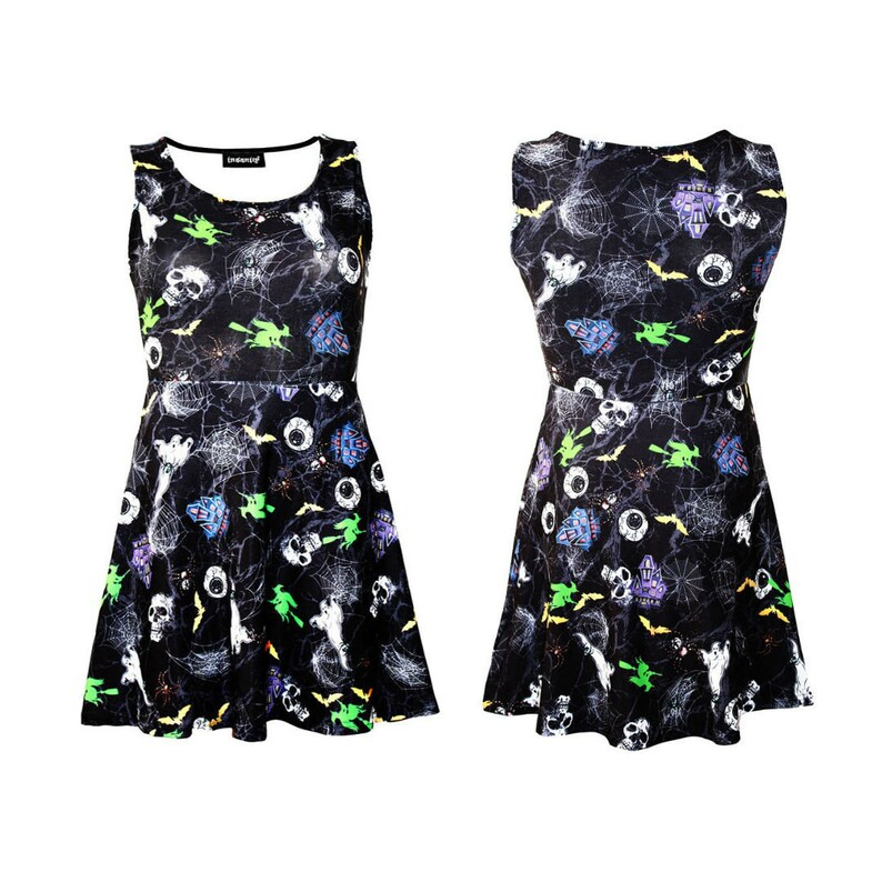 Girls Spooky Skulls Ghosts Eyeballs Spiders Print Girls Sleeveless Skater Dress