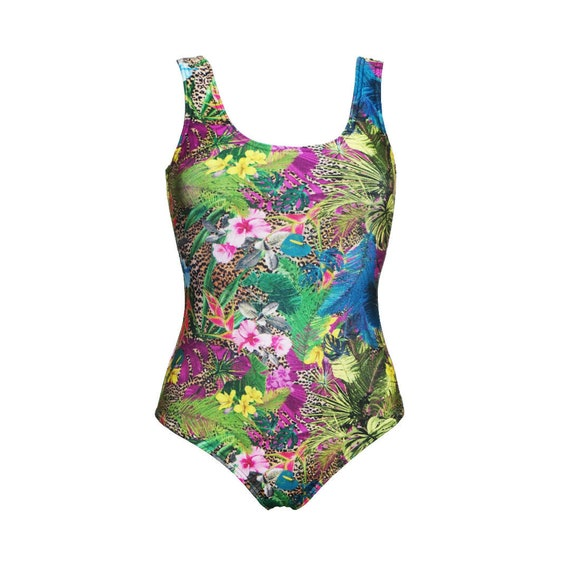 Tropical Floral Flowers Plam Leaves Foliage Leopard Skin Animal Print Swimsuit