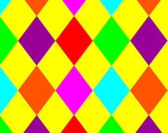 Multi Colour Rainbow Diamond Harlequin Digital Print Stretch Spandex Fabric Stunning Sewing Dressmaking Festival Apparel