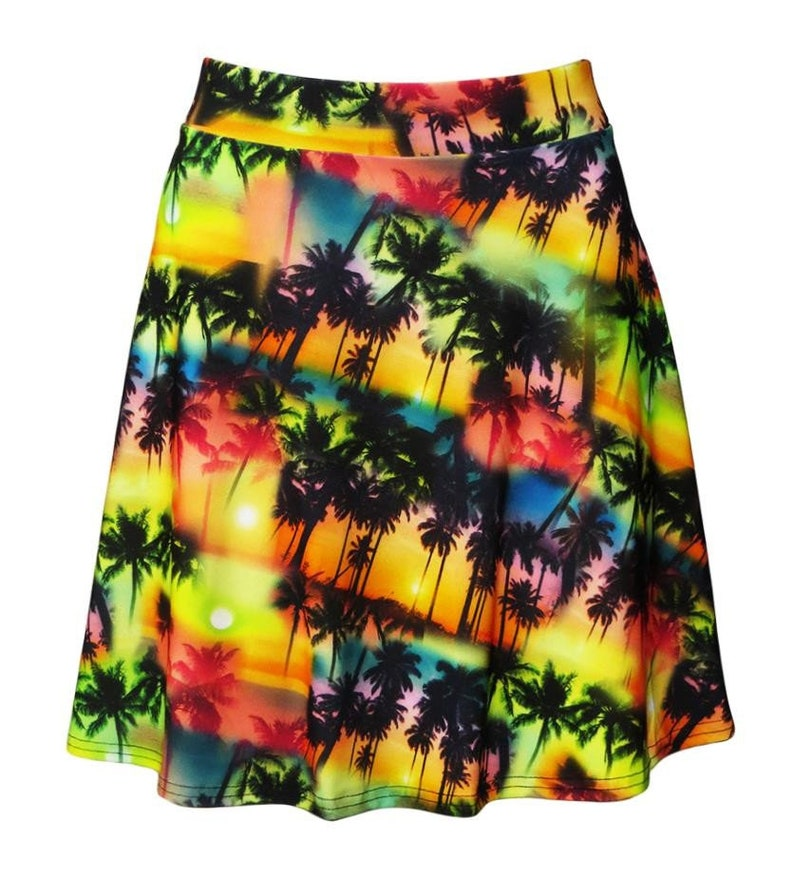 Exotic Colourful Palm Trees Sunset Los Angeles Beach Alternative Printed Skirts