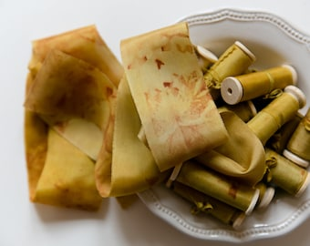 Silk ribbon, hand-dyed, Plant-dyed Mustard, Marbled markings 100% pure silk habotai ribbon