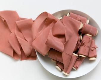 Silk Ribbon; Hand-dyed Silk Ribbon; Wedding bridal bouquet; Silk ribbon, hand-dyed, Plant-dyed Pink Terracotta 100% pure silk ribbon