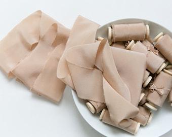 Silk Ribbon; Hand-dyed Silk Ribbon; Wedding bridal bouquet; Silk ribbon, hand-dyed, Plant-dyed milky Caramel 100% pure silk ribbon