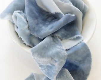 silk Velvet Silk Ribbon, blue with markings ribbons, handmade, hand-dyed, eco friendly, bridal bouquets, wedding invitations