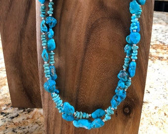 Sleeping Beauty 2 Strand Turquoise Nugget Necklace, 23 1/2 inches.
