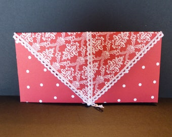 Red and white envelope for card or check
