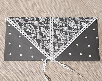 Black and white envelope for card, check or gifts