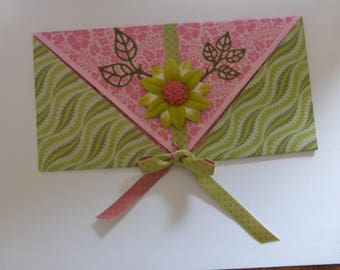 Example envelope pink and green for card or check