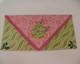 Example pretty shell pink and green for card or check