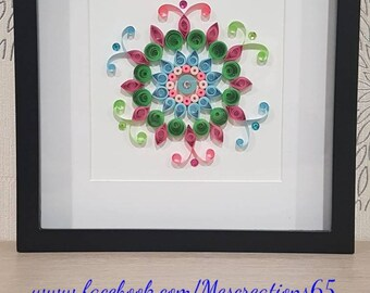 Quilling - green, blue and pink Mandala pattern chart