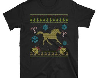 Horse Lover Equestrian Xmas Christmas Ugly Holiday Sweater Shirt Gift