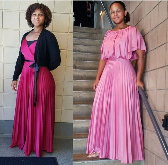 70s maxi dress pink goddess dress