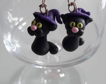 Cat polymer clay earring
