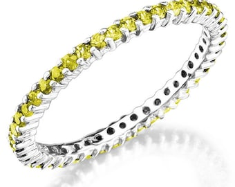 Genuine Yellow Sapphire Set in a 14k white Gold, Stackable ring.