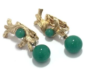 fb232ed4c039d Boucles d oreilles clip-on de Vintage doré torsadé vinifiés vert verre  balancent