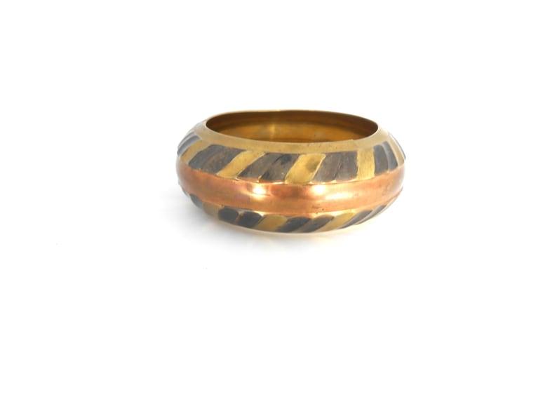Vintage Large Oversized India Brass Bronze Copper Striped Slave Cuff bangle B-0434
