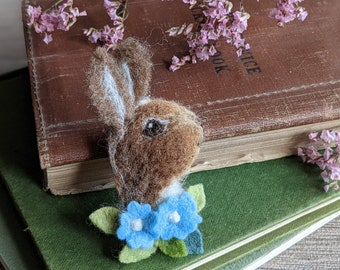 Needle Felted Bunny Rabbit Brooch Pin Badge