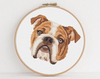 Cross Stitch Chart Kit English Bulldog Puppy