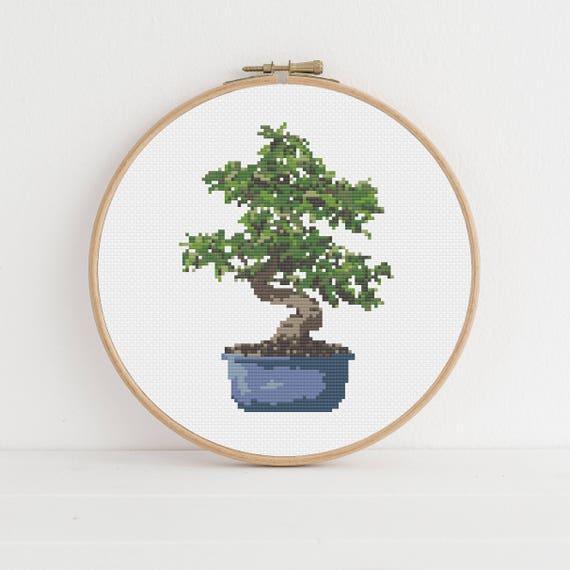 Tea Tree Bonsai Plant Counted Cross Stitch Pattern Pdf Etsy