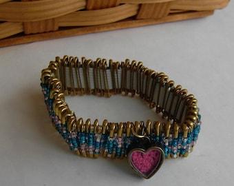 Beaded Safety Pin Heart Bracelet