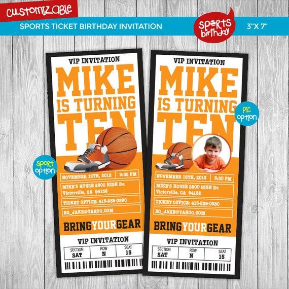 Digital Printable Basketball Birthday Invitation Sport Ticket