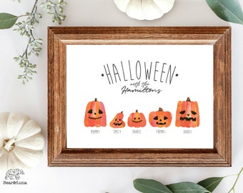 Personalised Pumpkin Patch Family • Cute and Spooky • Halloween Family Portrait • Pumpkin Wall Art