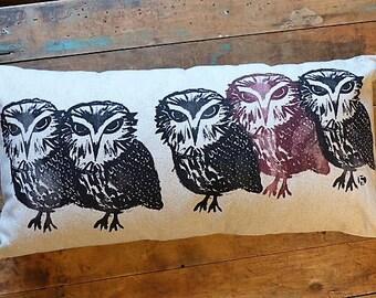Linen OWL pillow cover / Linen Owl cushion / OWL / OWL / hand screen printed / Screening print / Hand made/home decor