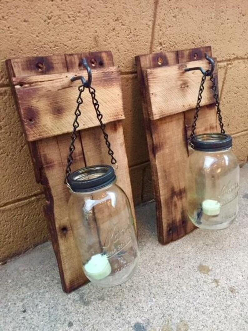 Ensemble Applique Rustique Mason Jar Bois De Palette De Etsy
