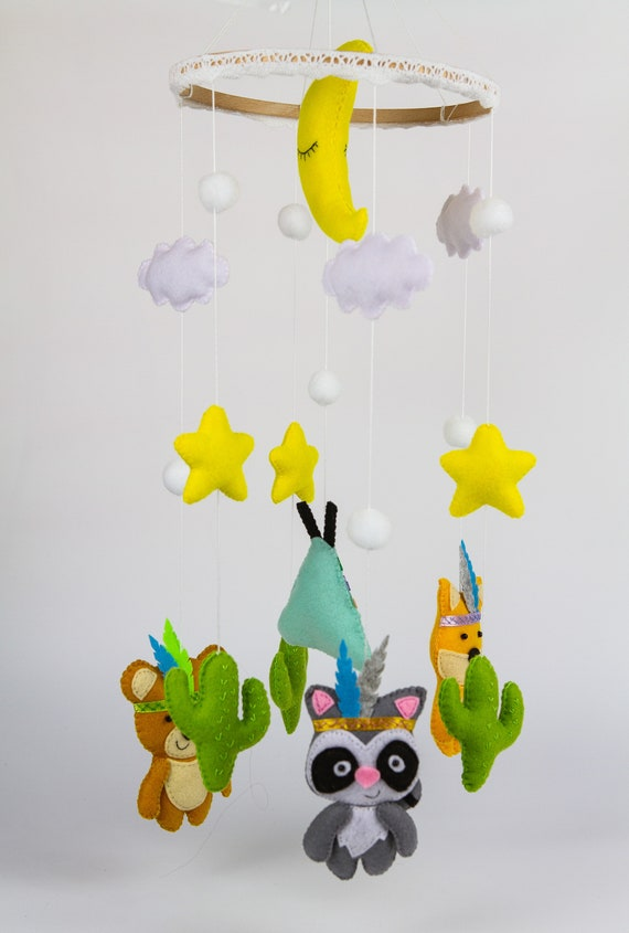 Animal mobile,Felt mobile,Baby gift,Baby crib mobile,Forest Mobile,Mobile accessories,Wooden mobile,Fox mobile,Hanging mobile,Raccoon mobile