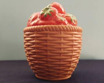 Vintage Avon // Strawberry Jar // 1985 // Ceramic Berry Basket