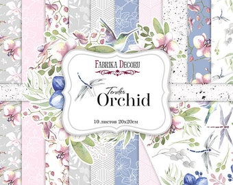 Scrapbooking paper pad 20x20 cm \ 8x8 Orchid flowers spring
