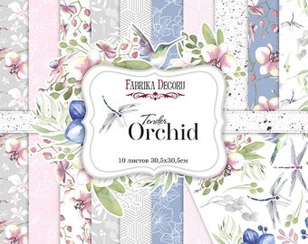 Scrapbooking paper pad  ORCHID flowers spring